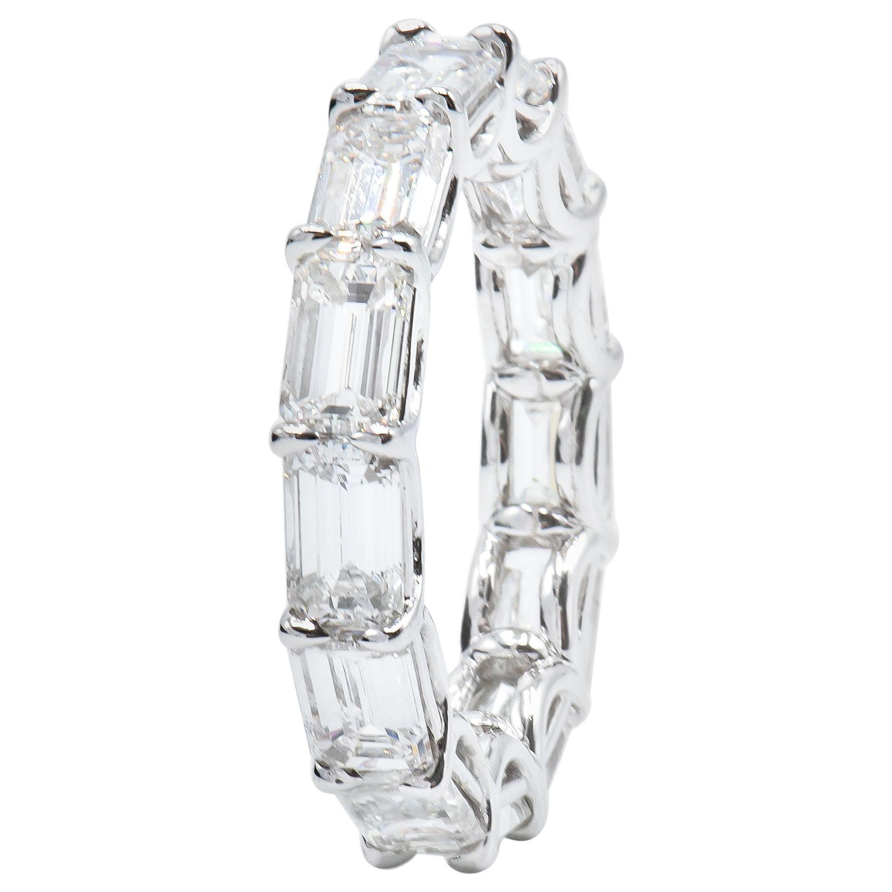 6.54 Carat East West Emerald Cut Diamond Eternity Band Ring