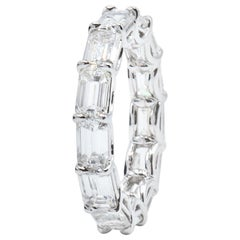 6.54 Carat East West Emerald Cut Diamond Eternity Band Ring