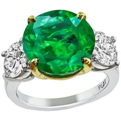 6.54 Carat Emerald GIA Certified 1.56 Carat Diamond Anniversary Ring