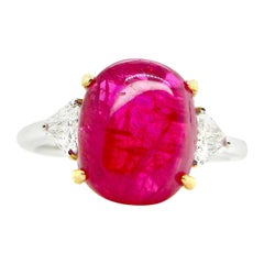 6.54 Carat GIA Certified Unheated Burmese Ruby Cabochon and White Diamond Ring