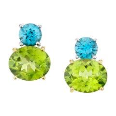 6.54 Carat Peridot and Blue Zircon 18 Karat Gold Post Earrings