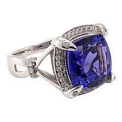 6.549 Carat Cushion Shaped Tanzanite Ring in 18 Karat White Gold with Diamonds