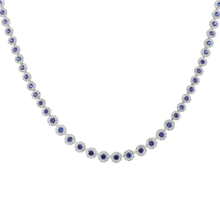 Material: 14k White Gold Diamond Details: Approximately 5.34ctw round brilliant cut diamonds. Diamonds are G/H in color and VS in clarity. Gemstone Details: Approximately 6.55ctw blue sapphire gemstones. Measurements: 16.5″ in length Item Weight: