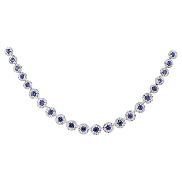 6.55 Carat Blue Sapphire Necklace For Sale