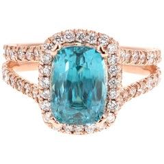 6.55 Carat Blue Zircon Diamond 14 Karat Rose Gold Ring