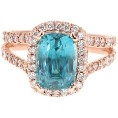 6.55 Carat Blue Zircon Diamond 14 Karat Rose Gold Ring