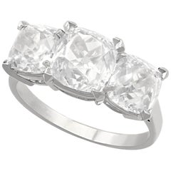 6.55 Carat Old Cut Diamond and Platinum Trilogy Ring