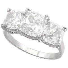 6.55 Carat Old Cut Diamond and Platinum Trilogy Ring