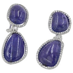 65.50 Carat Tanzanite Cabochon Cut and Round Diamond Drop Earrings