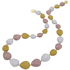 65.56 Carat Natural Pink, Yellow, and White Diamond Necklace