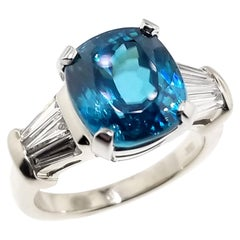 6.56 Carat Cambodian Blue Zircon and 0.75 Carat Diamond 18 Karat Ring