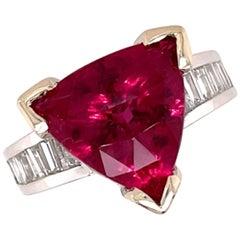 6.56 Carat Rubellite Tourmaline and 1.31 Carat Diamond Gold Ring