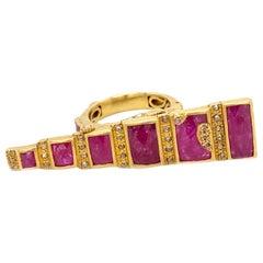 6.56 Carat Ruby Art Deco Mosaic Coomi Ring in 20 Karat Yellow Gold