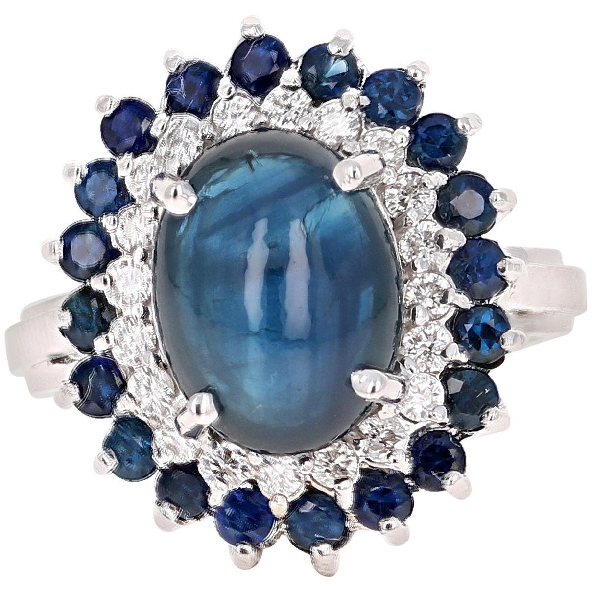 6.56 Carat Sapphire Diamond White Gold Cocktail Ring