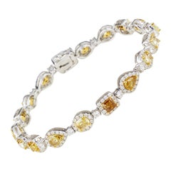 6.56 Carat Unusual Shaped Yellow Diamond Bracelet