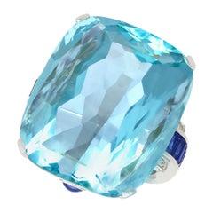 65.61 Carat Aquamarine, 3.46 Carat Sapphire and Diamond Platinum Cocktail Ring