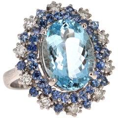 6.57 Carat Aquamarine Sapphire and Diamond 18 Karat White Gold Cocktail Ring