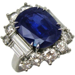 6.57 Carat GIA Certified Un-Heated Blue Sapphire and Diamond Ring in Platinum