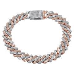 6.57ct Diamond Cuban Link Bracelet Long 14K Two-Tone 43.9gm