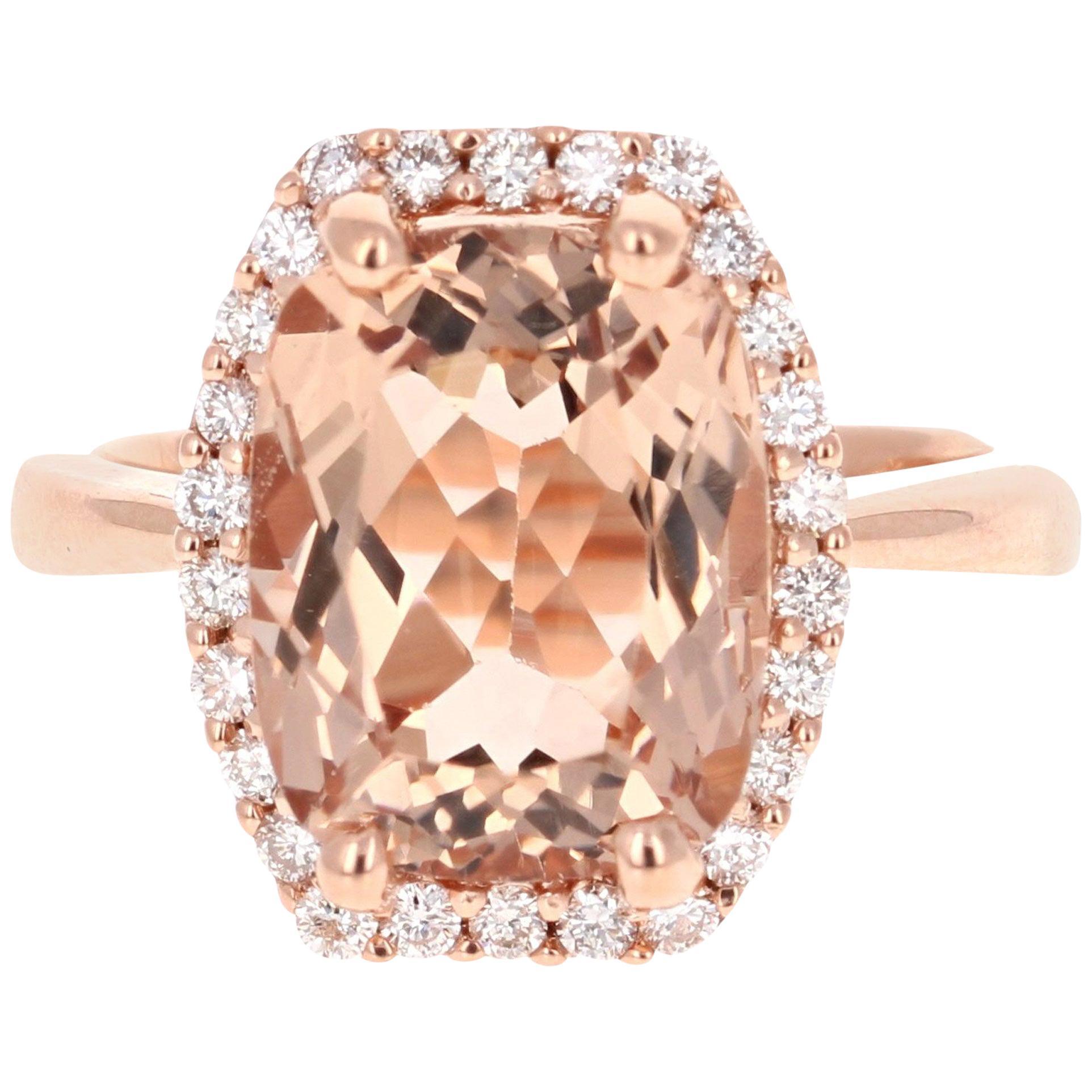 6.58 Carat Morganite Diamond Halo Rose Gold Engagement Ring
