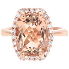 6.58 Carat Morganite Diamond Halo Rose Gold Engagement Ring