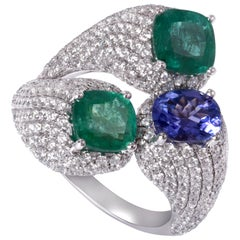 18K White Gold 6.58cts Three-Stone Pave Diamond Emerald Tanzanite Cocktail Ring