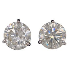 6.58 Total Carat Round Brilliant Diamond Stud Martini Set Earrings