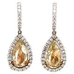 6.58ct Yellowish YZ Pear Rose Cut Diamond Drop Earrings with Halo 18k Gold
