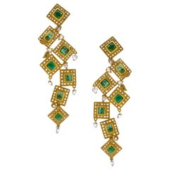 6.59 Carat Emerald Drop Dangle Statement Art Deco Style Mosaic Coomi Earrings