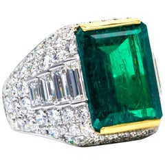 6.59 Carat Natural Emerald Diamond Ring in Platinum