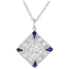 .66 Carat Diamond Blue Sapphire Platinum Pendant Necklace