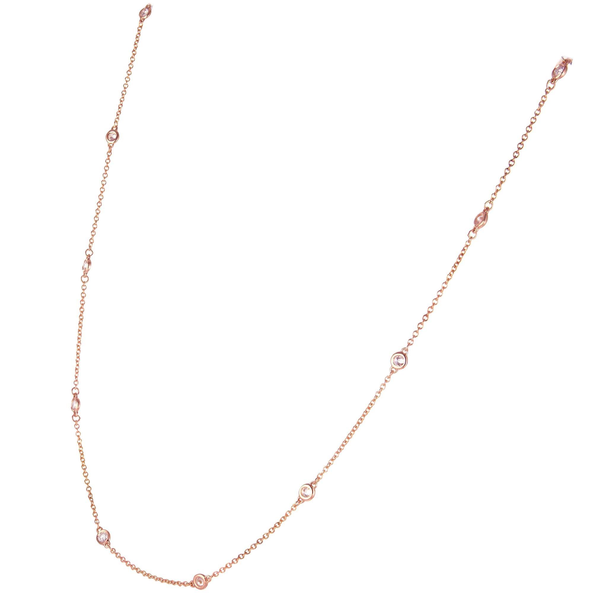 .66 Carat Diamond Rose Gold Diamond by the Yard Necklace