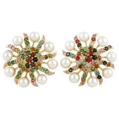 6.6 Carat Pearl Tourmaline 18 Karat Gold Diamond Stud Earrings