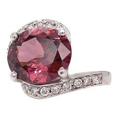 6.60 Carat Chambord Zircon 14 Karat Gold Ring with Diamonds
