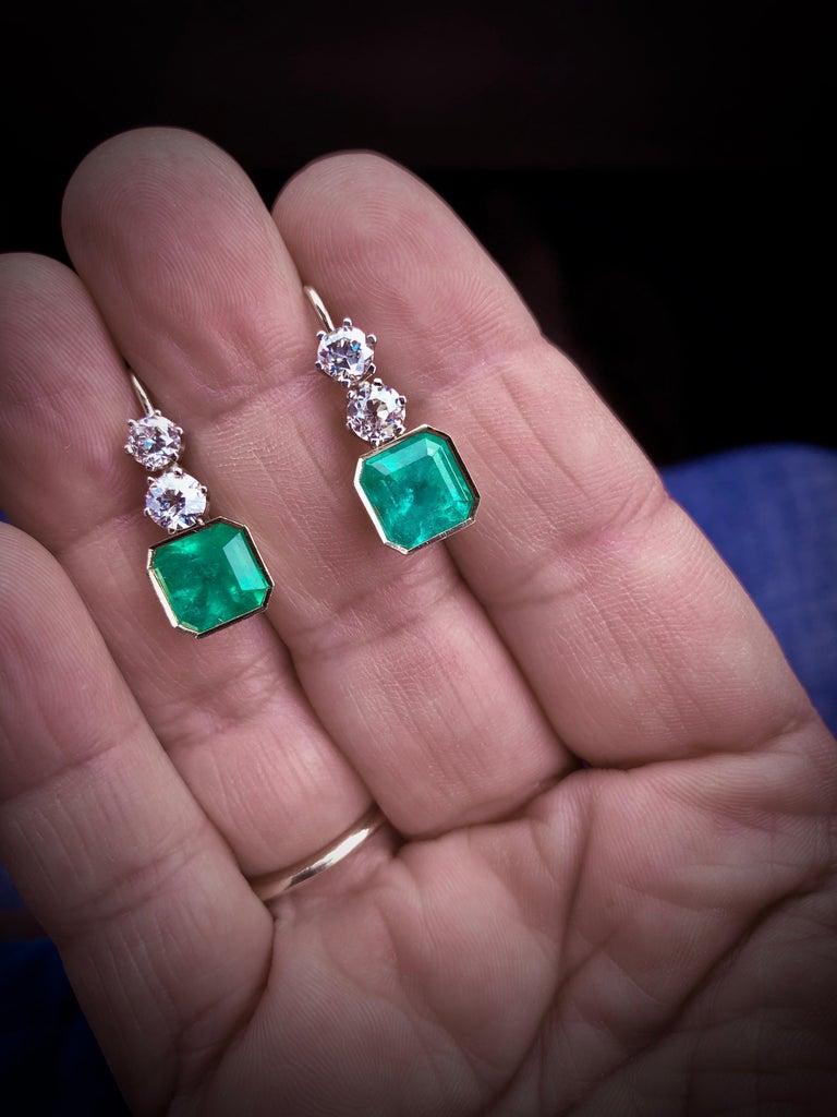 Emerald Cut 6.60 Carat Colombian Emerald and Old European Diamond Dangle Earrings For Sale