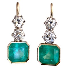 6.60 Carat Colombian Emerald and Old European Diamond Dangle Earrings