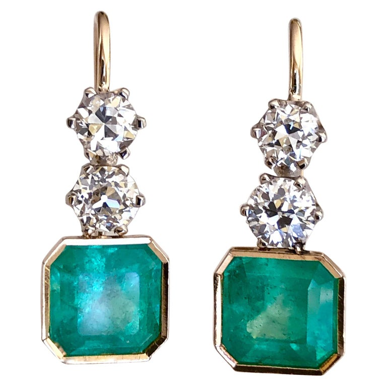 6.60 Carat Colombian Emerald and Old European Diamond Dangle Earrings For Sale