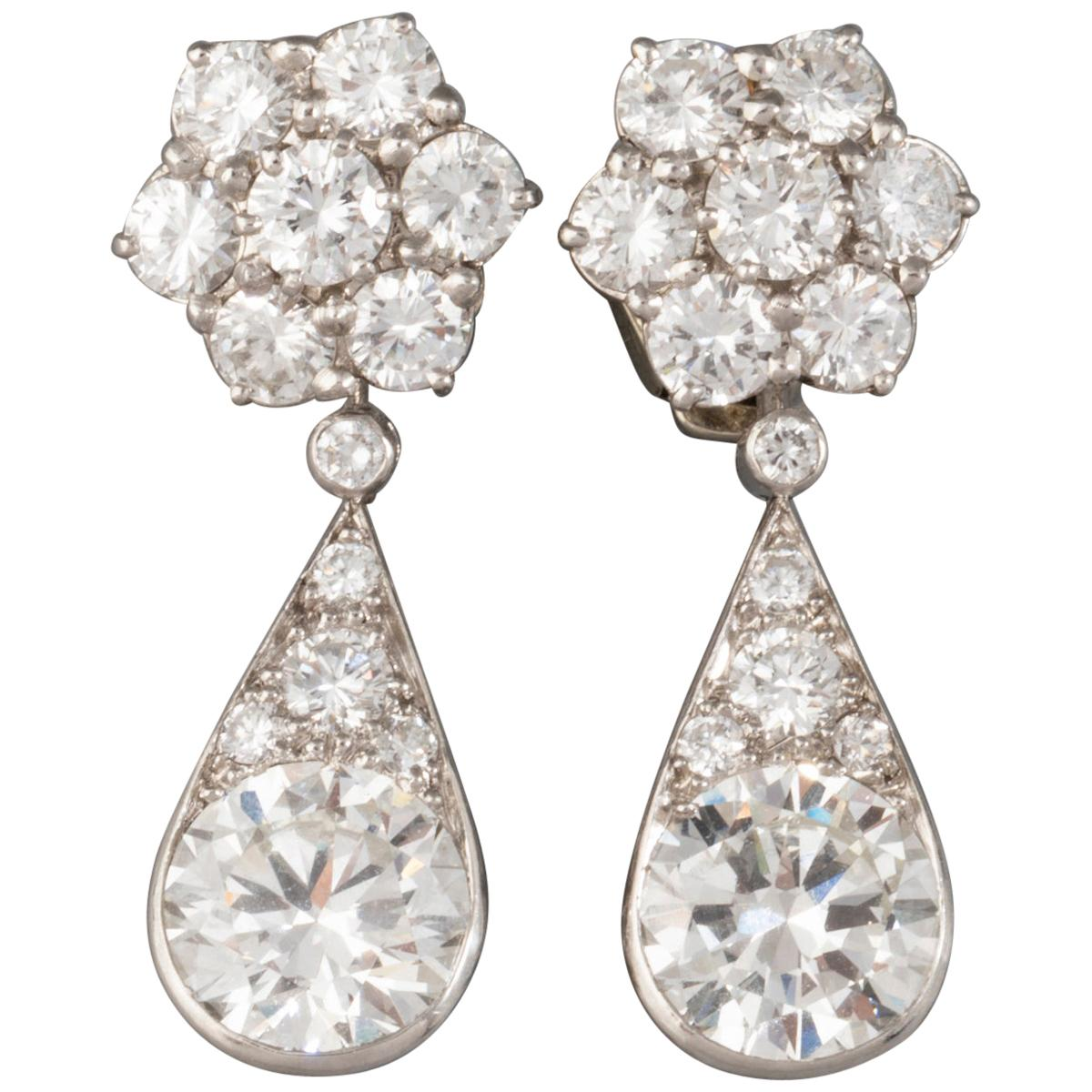 6.60 Carat Diamonds French Art Deco Earrings
