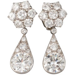 6.60 Carat Diamonds French Art Deco Earrings