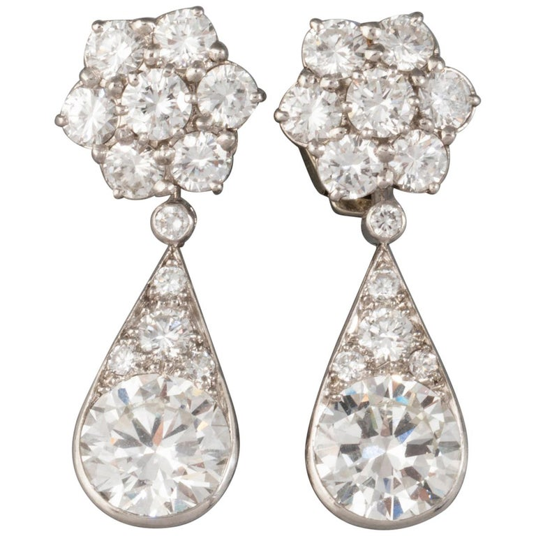6.60 Carat Diamonds French Art Deco Earrings For Sale