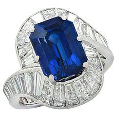 6.60 Carat Emerald Cut Sapphire and Diamond Cocktail Ring