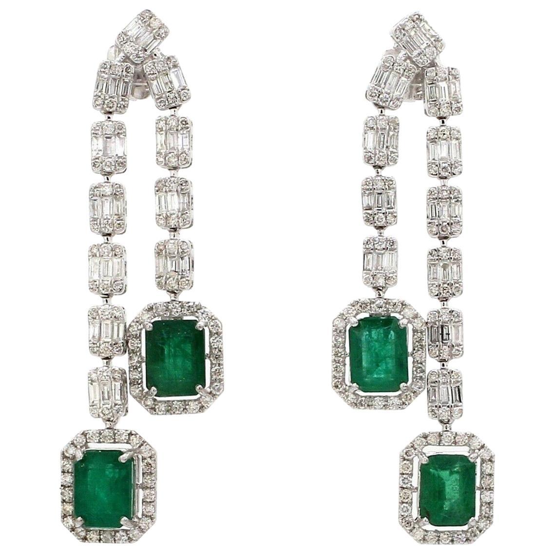 6.60 Carat Emerald Diamond 18 Karat Gold Earrings