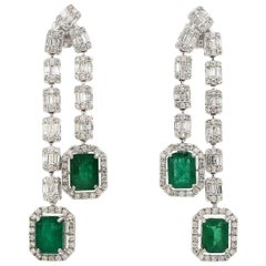 6.60 Carat Emerald Diamond 18 Karat Gold Earrings