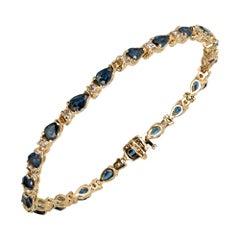 6.60 Carat Pear Sapphire Round Diamond Gold Hinged Link Bracelet