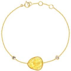 6.60 Carat Rose Cut Sapphire Diamond 18 KT Yellow Gold Artisan Bracelet