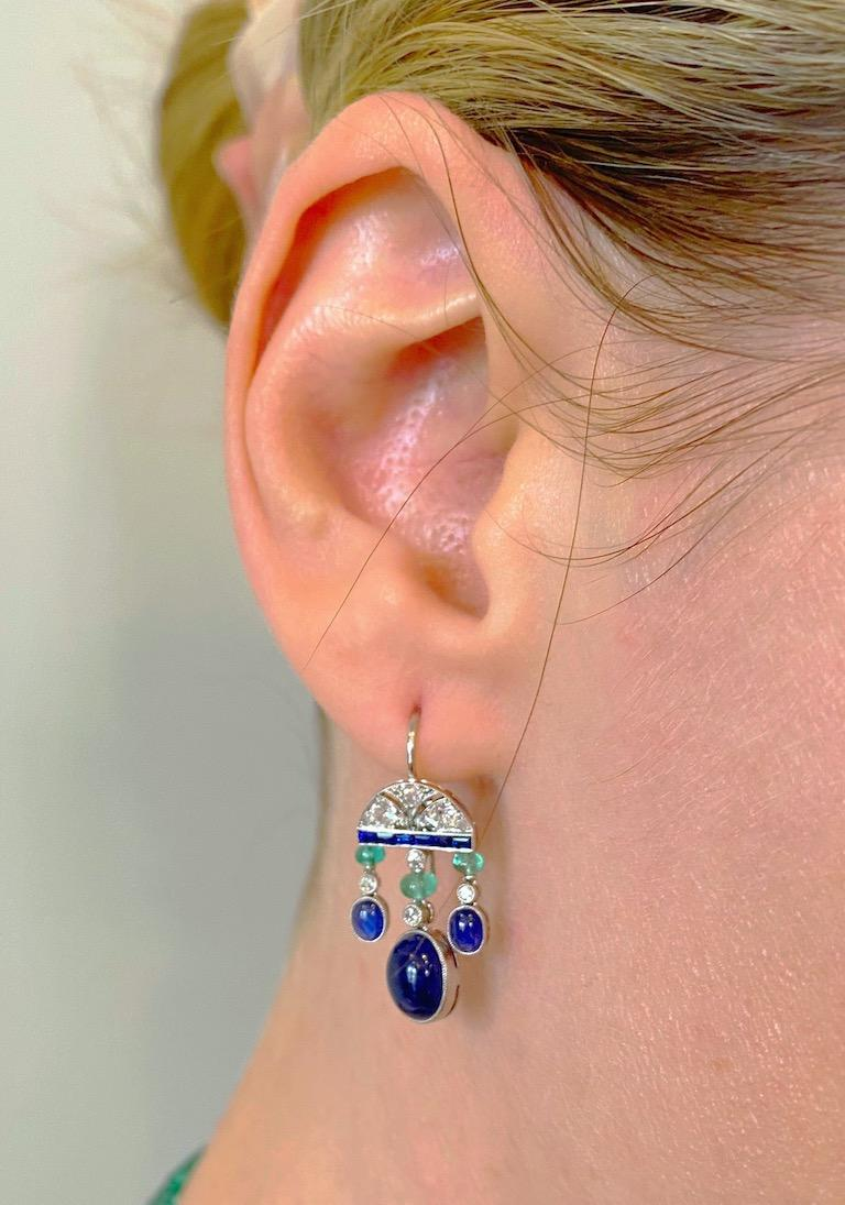 6.60 Carat Sapphire, Emerald, and Diamond Art Deco Style Earrings in Platinum In New Condition For Sale In Charleston, SC