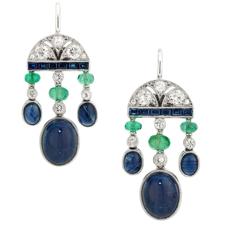 6.60 Carat Sapphire, Emerald, and Diamond Art Deco Style Earrings in Platinum For Sale