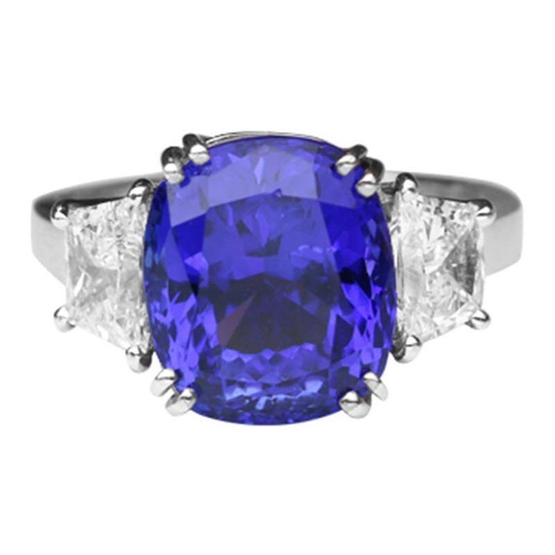 6.60 Carat Tanzanite Cushion and Diamond Platinum Ring Estate Fine Jewelry