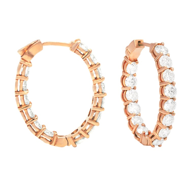 Absolutely stunning rose gold diamond hoop earrings, features 6.13 carats of diamonds, each stone is approximately 0.20 carats. Total amount of round brilliant cut diamonds is (30 stones).   The average color and clarity G-H SI  Diameter: 1 1/2