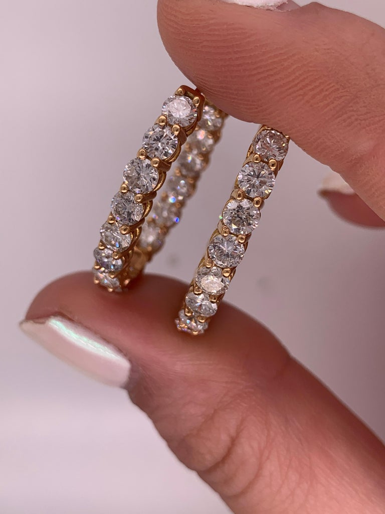 Round Cut 6.60 Carat Yellow Gold Diamond Hoops, 0.25 Each Stone For Sale